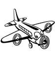 cartoon airplane black white vector image vector image