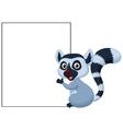Cute lemur cartoon holding blank sign vector image vector image
