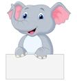 Cute elephant cartoon holding blank sign vector image vector image