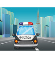 Police car on the freeway vector image vector image