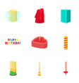 candle icons set cartoon style vector image