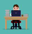 cartoon diligent office worker at the table vector image