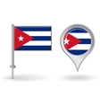 Cuban pin icon and map pointer flag vector image