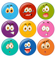 Facial expressions in circle emoticon vector image