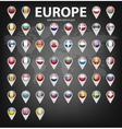 Map markers with flags - Europe Original colors vector image