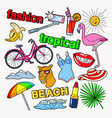 tropical beach vacation doodle with flamingo vector image
