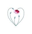 watercolor poppy flower heart on white background vector image