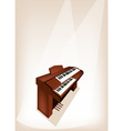 A Retro Pipe Organ on Brown Stage Background vector image