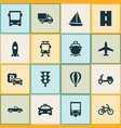 shipment icons set collection of bicycle van vector image