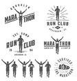 Set of run club labels emblems and design element vector image