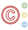 Copyright sign Set of line icons vector image