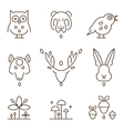 Animal Heads and Plants Icons Set Linear Style vector image