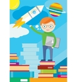 Boy with laptop in hand stands on books and shows vector image
