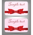 Card with bow and ribbon vector image