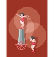 circus performer make stunt with fly from big gun vector image