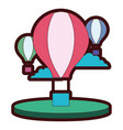 line color air balloons fly with clouds in the sky vector image