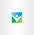 square icon green blue man vector image