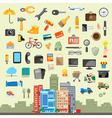 Universal icon set flat design vector image