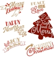 Xmas and NY stickers and logotypes set vector image