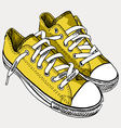 Yellow sneakers - by hand the drawn vector image