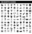 100 earth icons set simple style vector image