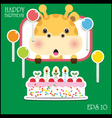 Happy birthday card with fun giraffe vector image