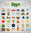 hippie flat icons on transparent background vector image vector image