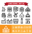 Building and Landmark Line icons set 48 vector image vector image