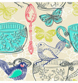 Tea time with flowers and bird seamless pattern vector image vector image