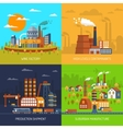 Industrial Factories And Plants Flat Set vector image