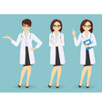 Set of three female doctors in different poses vector image vector image