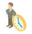 Businessman and clock showing 4 clock icon vector image