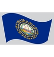 Flag of New Hampshire waving on gray background vector image