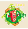 Recycling red bin with papers ecology concept with vector image
