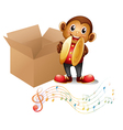 A monkey with cymbals beside a box with musical vector image vector image