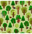 Forest seamless pattern with trees and animals vector image vector image