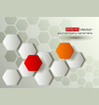 Red and orange hexagons technology background vector image vector image