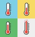 Broken thermometer Overheat Flat design vector image