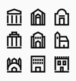 Line buildings icons vector image
