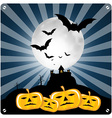 Happy Halloween Retro with Spooky Castle Bats and vector image