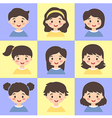 Set of Kids Face Avatar Blue Yellow vector image