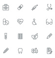 Set of Thin Line Medicine and Healthy Icons vector image
