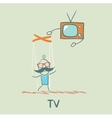 TV controls the person vector image