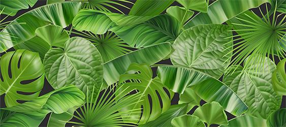 jungle foliage seamless pattern 3d realistic vector