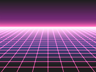 retro futuristic neon grid background 80s design vector